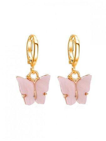 [30% OFF] [HOT] 2020 Butterfly Small Hoop Drop Earrings In PIG PINK | ZAFUL