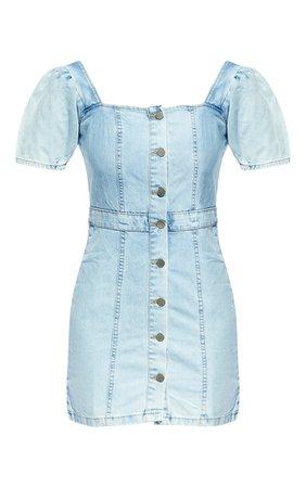 Light Blue Wash Button Through Denim Dress | PrettyLittleThing USA