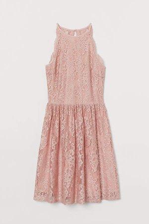 Short Lace Dress - Pink