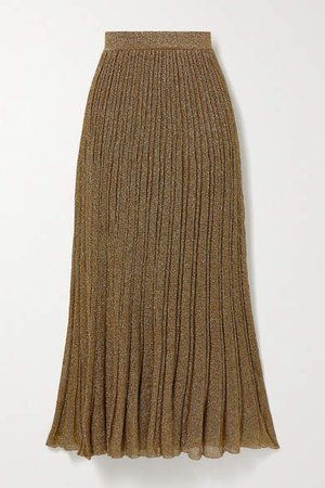 Pleated Metallic Crochet-knit Maxi Skirt - Gold