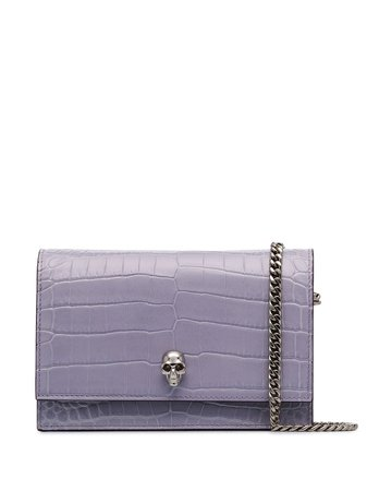 Shop purple Alexander McQueen skull-embellished crossbody bag with Express Delivery - Farfetch