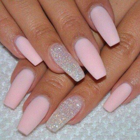 Pastel pink nails silver sparky nails   Nail Designs   Matte pink nails, Nails, Nails 2015