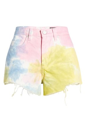 BLANKNYC The Barrow Tie Dye High Waist Denim Shorts (Wonder Wheel) | Nordstrom