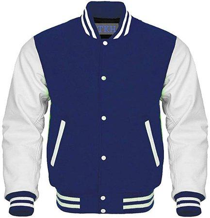 Design Custom Jackets Letterman Baseball Varsity Jacket White Leather Sleeves Navy Blue Wool at Amazon Men's Clothing store