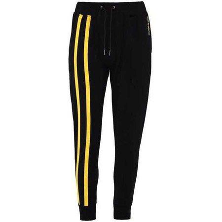 Black Sweatpants With Yellow Stripes