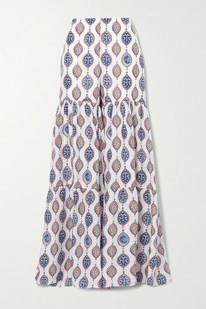 Tiered Printed Silk-habotai Flared Pants - Blue