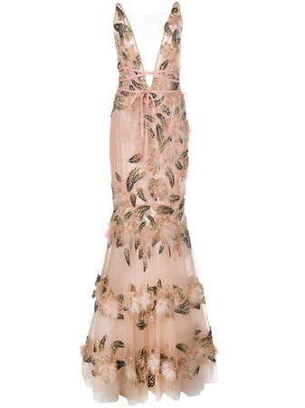 Pink Marchesa Bead Embroidery Dress | Farfetch.com