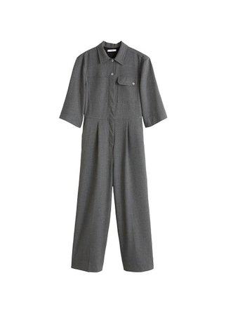MANGO Long chest-pocket jumpsuit