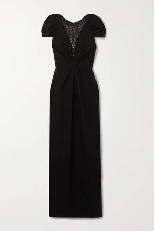 Noe Embellished Tulle And Crepe Gown - Black