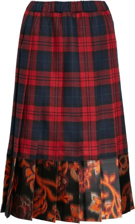 Pleated Check Flannel & Brocade Skirt
