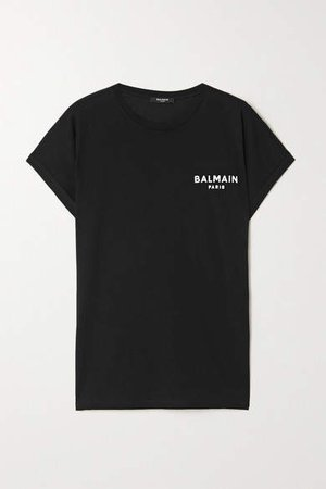 Flocked Cotton-jersey T-shirt - Black