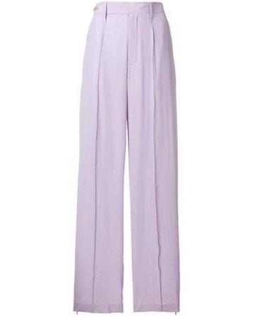 JOSEPH Silk Tailored Trousers in Pink & Purple (Purple)