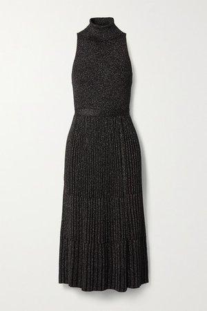 Lennon Ribbed Metallic Merino Wool-blend Midi Dress - Black