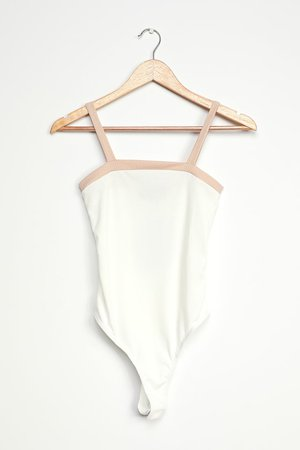 Cute Colorblock Bodysuit - White Bodysuit - Sleeveless Bodysuit