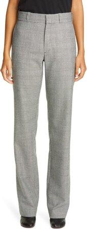 Glen Plaid Wool Blend Straight Leg Trousers