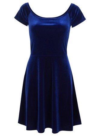 Blue-Velvet Dress (Short-Sleeves)