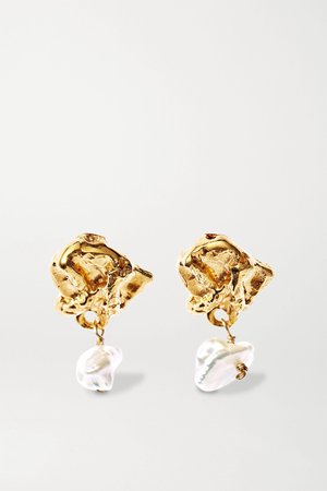 Gold Streaming Pearl gold-plated pearl earrings | Alighieri | NET-A-PORTER