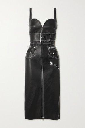 Belted Leather Midi Dress - Black
