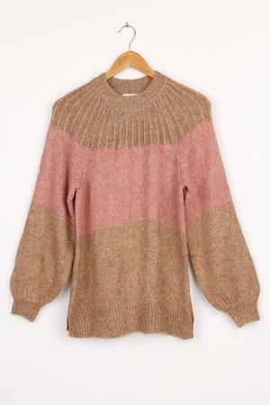 Brown Knit Sweater - Color Block Sweater - Balloon Sleeve Sweater - Lulus