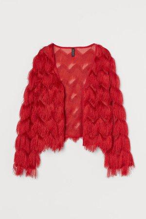 Fringe-covered Cardigan - Red