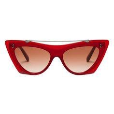 VALENTINO - CAT-EYE RED ACETATE SUNGLASSES