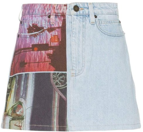Est. 1978 graphic print denim mini skirt
