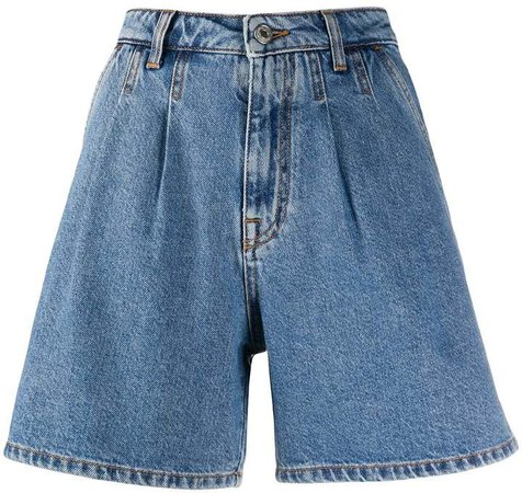 high-rise pleated A-line denim shorts
