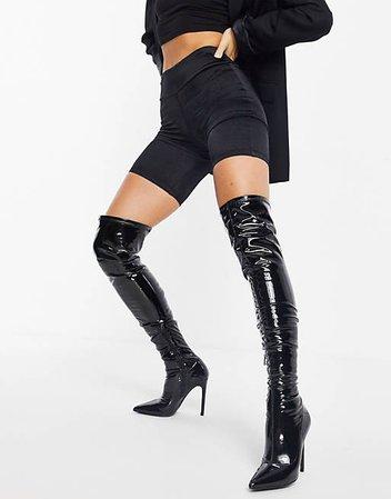 Public Desire Confidence over the knee boot in black vinyl   ASOS