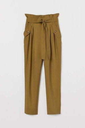 Pants with Tie Belt - Green