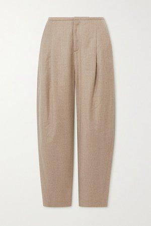 Wool-blend Flannel Straight-leg Pants - Beige