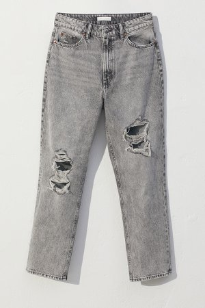 Straight High Ankle Jeans - Gray
