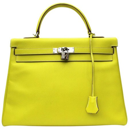 Hermès Kelly 35 Epsom Candy Series Lime color Top Handle Bag For Sale at 1stdibs