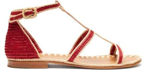Tama Raffia Sandals - Womens - Red Multi