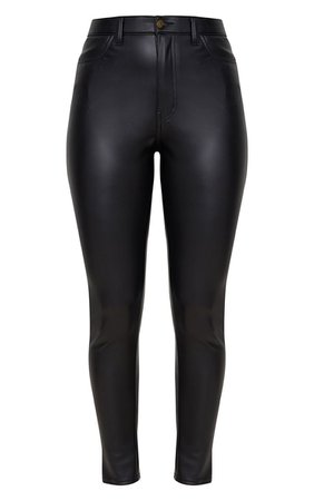 Black Button Up Pu Skinny Pants | Pants | PrettyLittleThing USA