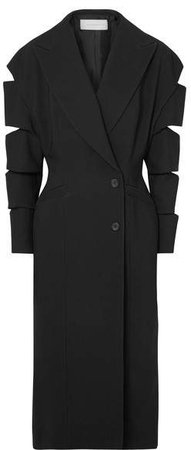Cutout Crepe Coat - Black