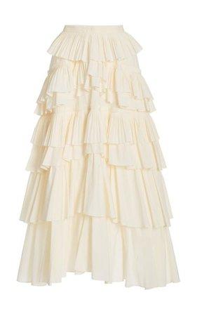 Gaelle Tiered Cotton Skirt By Ulla Johnson   Moda Operandi