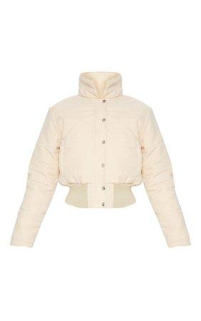 Beige Peach Skin Cropped Puffer Jacket   PrettyLittleThing