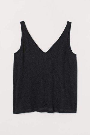 H&M+ Linen Jersey Tank Top - Black