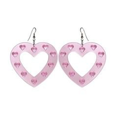 Large Plastic Heart Earring, in Pink with Silver Finish