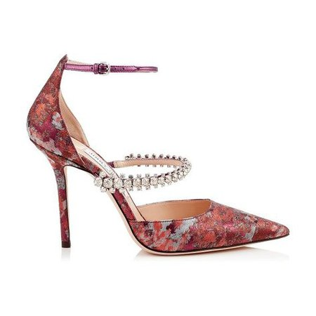 Jimmy Choo BOBBIE 100 Rosewood Mix Painterly Brocade Pointy Toe Pumps with Crystal Strap. #jimmychoo in 2019 | Jimmy choo, Heels, Brian atwood
