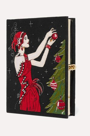 Olympia Le Tan Tree Appliqued Embroidered Canvas Clutch
