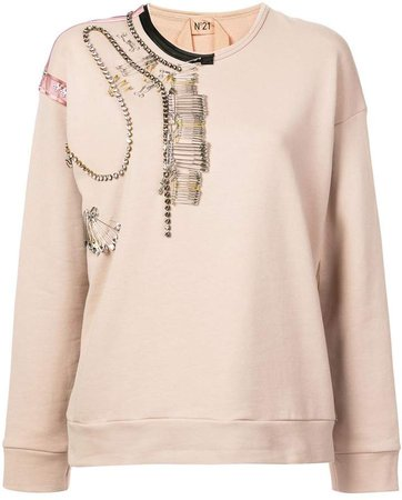 pin-embellished sweatshirt