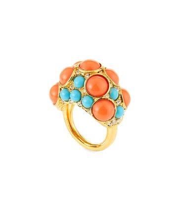 Kenneth Jay Lane Adjustable Crystal Dot Ring