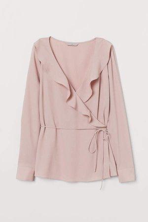 V-neck Wrapover Blouse - Pink