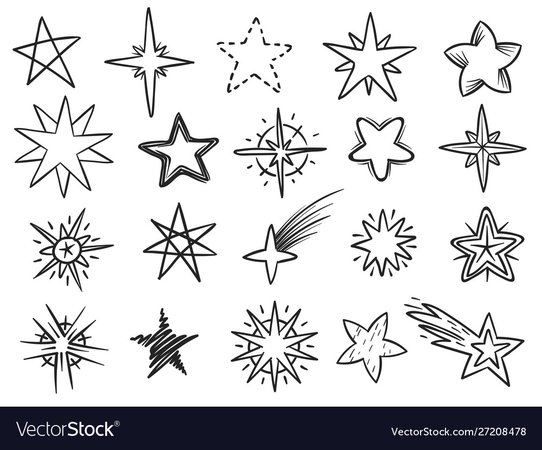 Sketch stars grunge star shapes black hand drawn Vector Image