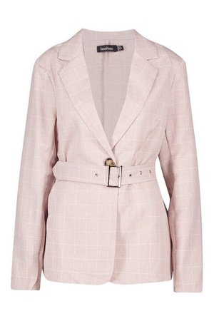 Grid Check Belted Blazer | Boohoo