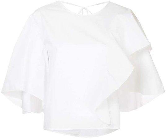 ruffle flared short-sleeve top