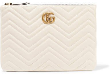Marmont Quilted Leather Pouch - White