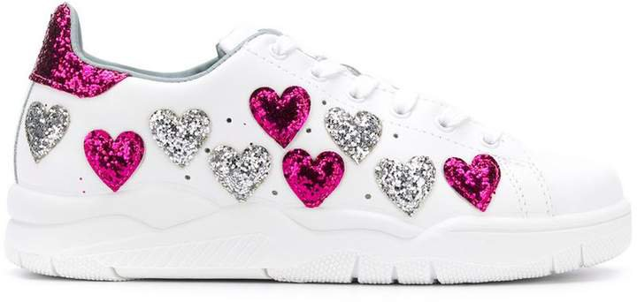 glitter heart low top sneakers