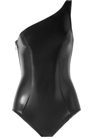 Lisa Marie Fernandez - Arden One-Shoulder Stretch-PVC Swimsuit